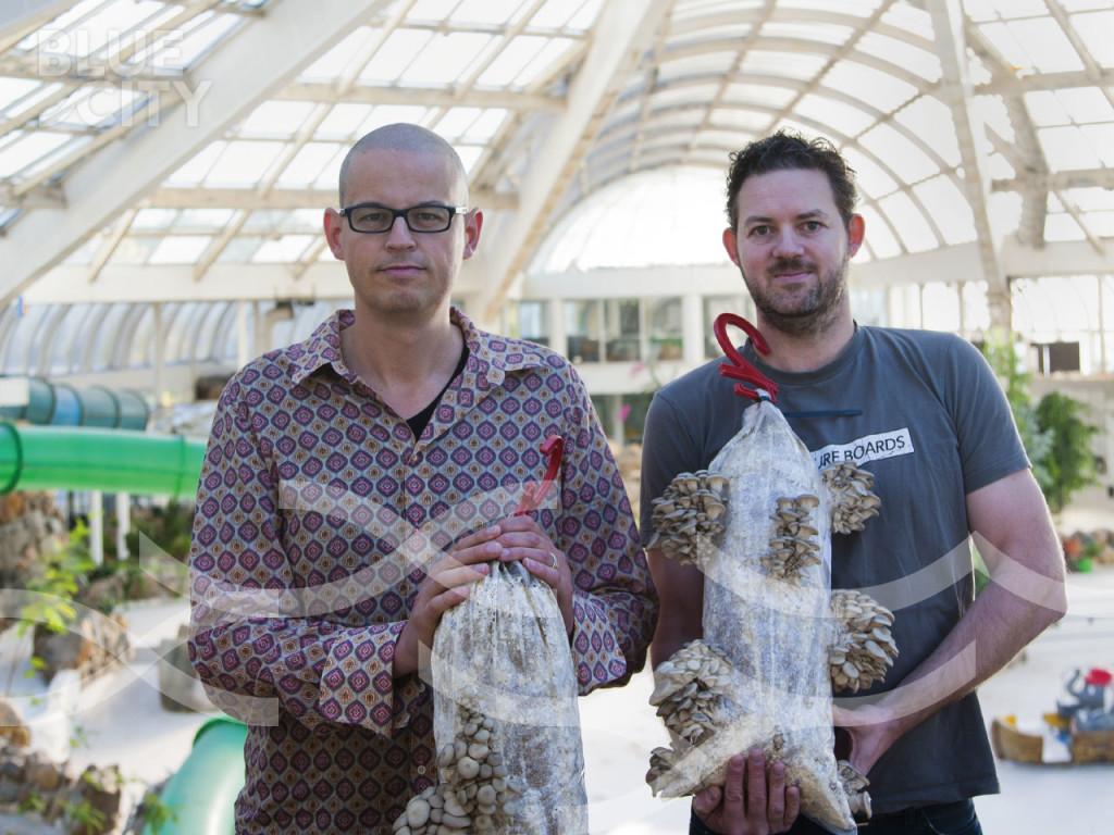 Mark en Siemen van RotterZwam, die gedroogde oesterzwammen leverde voor de SoepStarter BlueCity