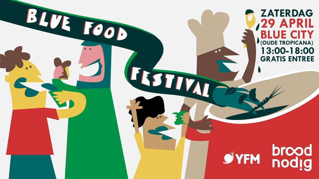 Poster Blue Food Festival bluecity, voor World Disco Soup Day