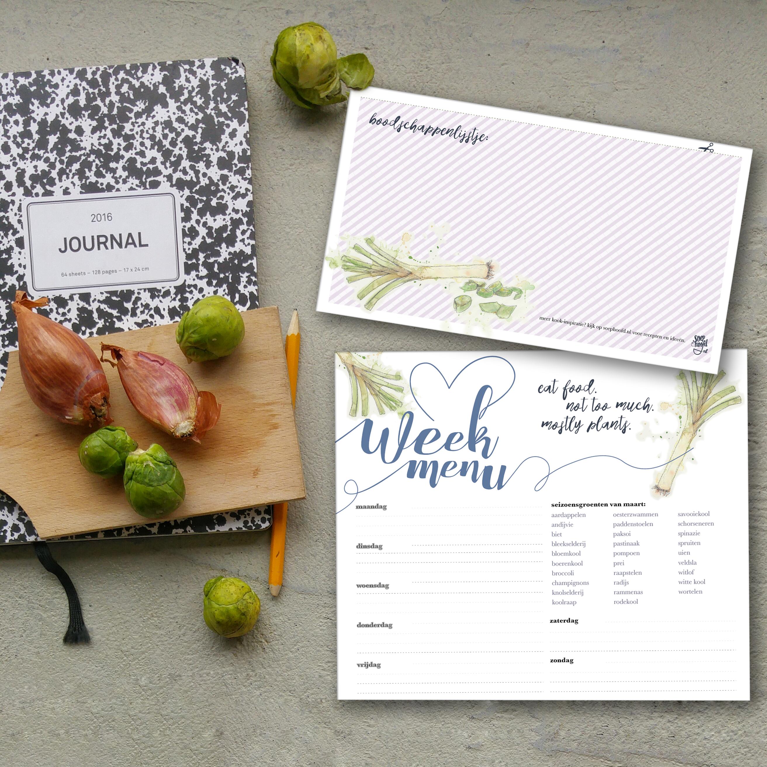 week menu planner maart download